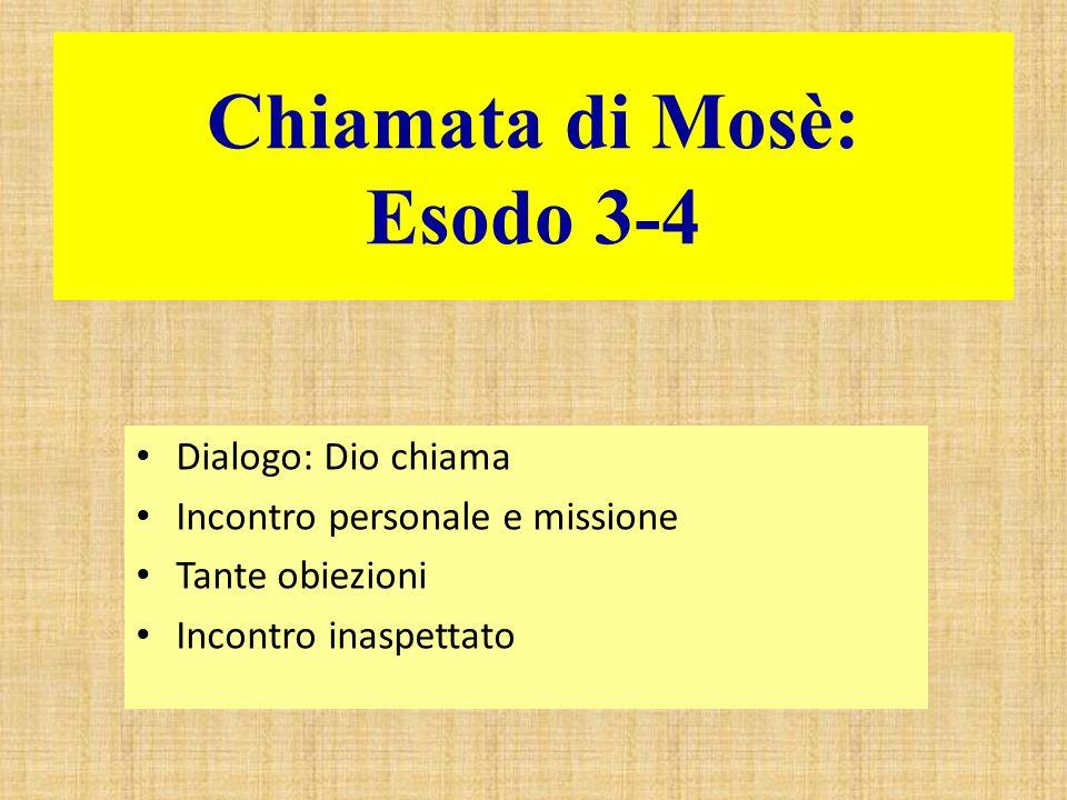 Chiamata di Mosè: Esodo 3-4 Dialogo: Dio chiama Incontro personale e missione Tante obiezioni Incontro inaspettato