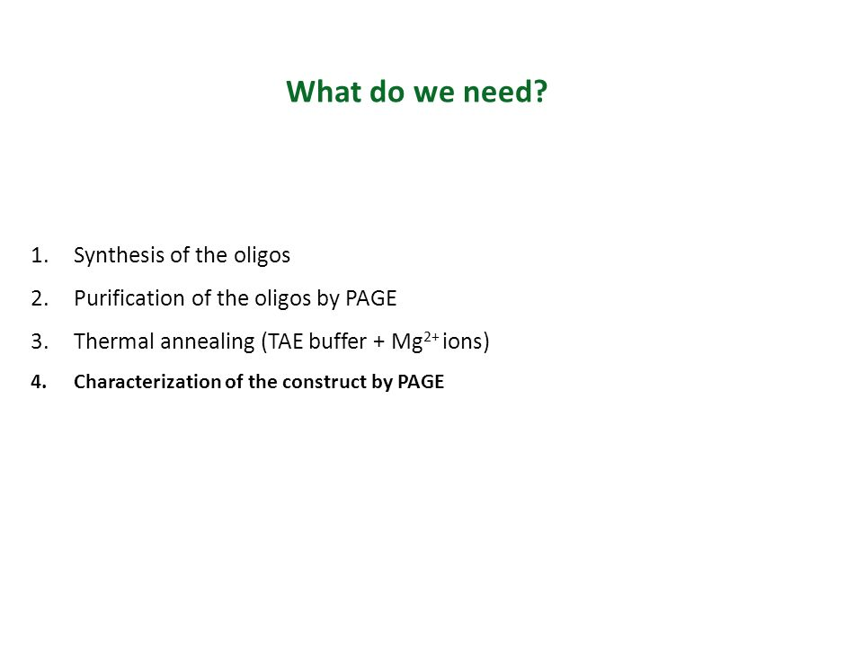 What do we need? 1.Synthesis of the oligos 2.Purification of the oligos by PAGE 3.Thermal annealing (TAE buffer + Mg 2+ ions) 4.Characterization of th
