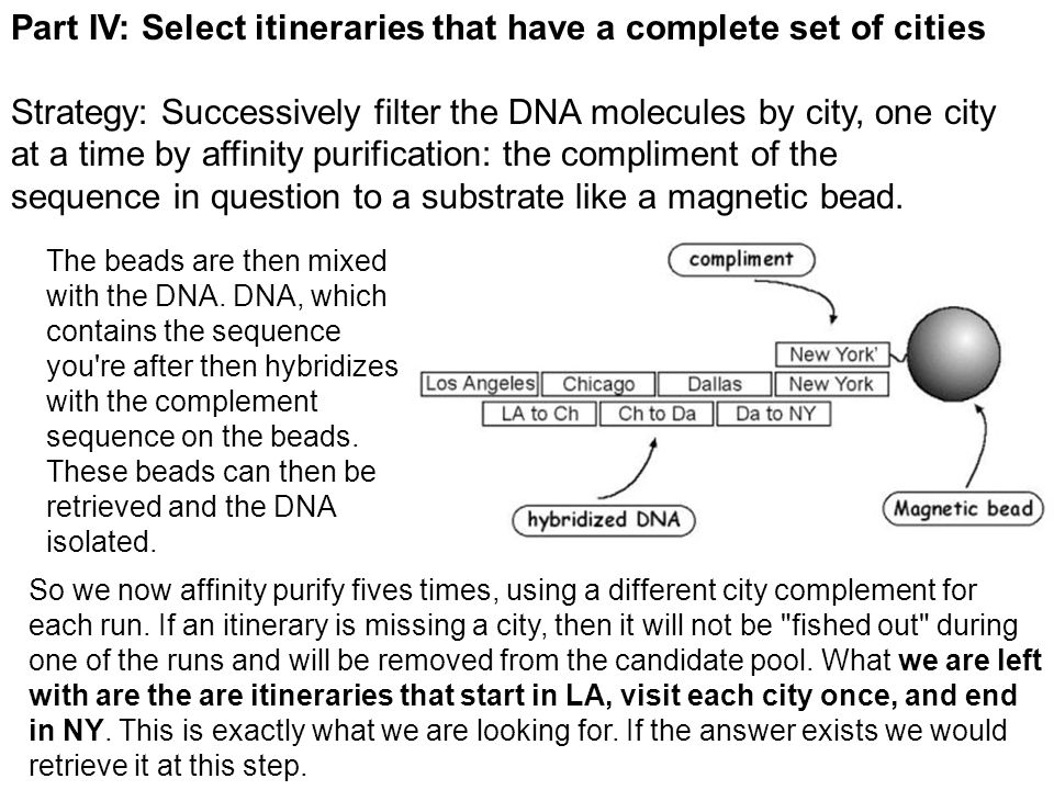 Part IV: Select itineraries that have a complete set of cities Strategy: Successively filter the DNA molecules by city, one city at a time by affinity purification: the compliment of the sequence in question to a substrate like a magnetic bead.