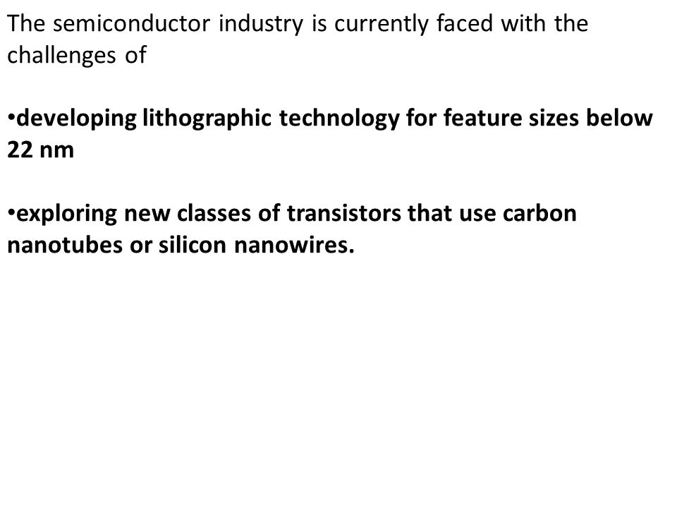 The semiconductor industry is currently faced with the challenges of developing lithographic technology for feature sizes below 22 nm exploring new cl