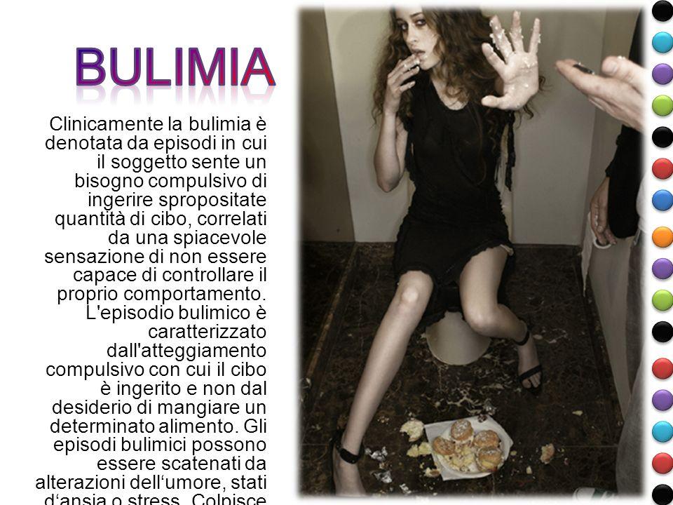 Clinicamente la bulimia è denotata da episodi in cui il soggetto sente un bisogno compulsivo di ingerire spropositate quantità di cibo, correlati da u