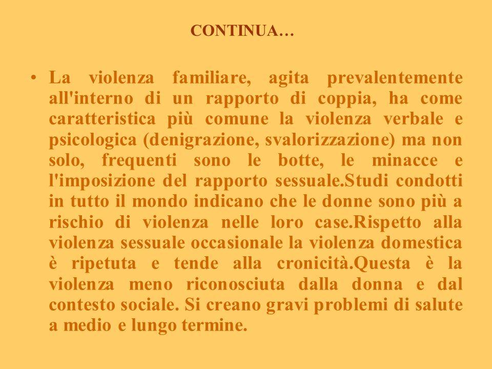La violenza familiare è la più comune violenza contro le donne (da Reale E., 2003 Centro Prevenzione Salute Mentale Donna, Roma, modificato) Dalle ind