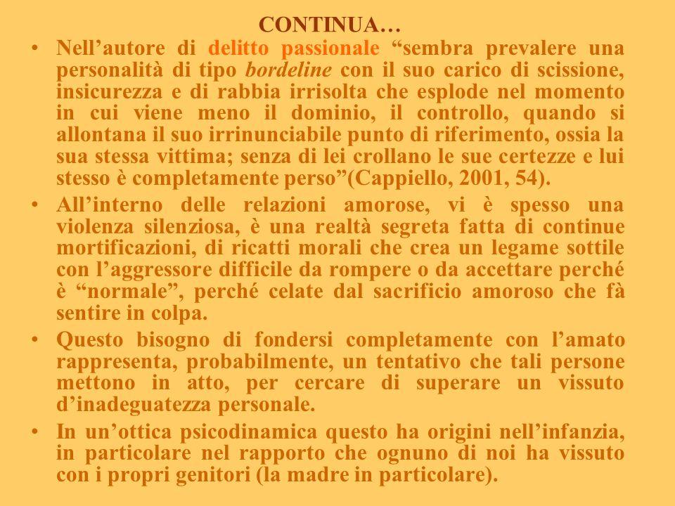 La dimensione patologica dellamore (da Vizzari P.C., 2003, modificato). Dietro un terribile evento sempre una storia di coppia tempestosa, dove lomici