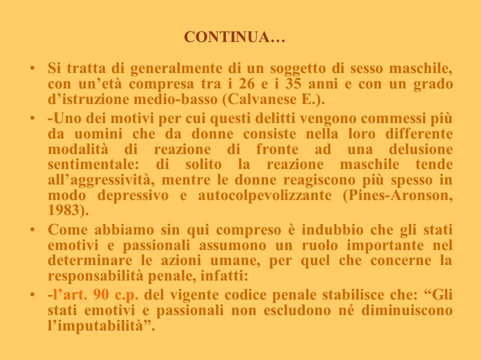Il tradimento e la vendetta (da Vizzari P.C., 2003, modificato). -Tra i moventi che inducono ad uccidere per amore, la vendetta per ragione donore non