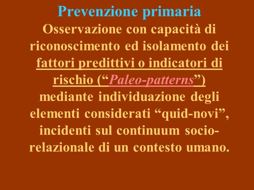 Prevenzione primaria Osservazione con capacità di riconoscimento ed isolamento dei fattori predittivi o indicatori di rischio (Paleo-patterns) mediante individuazione degli elementi considerati quid-novi, incidenti sul continuum socio- relazionale di un contesto umano.
