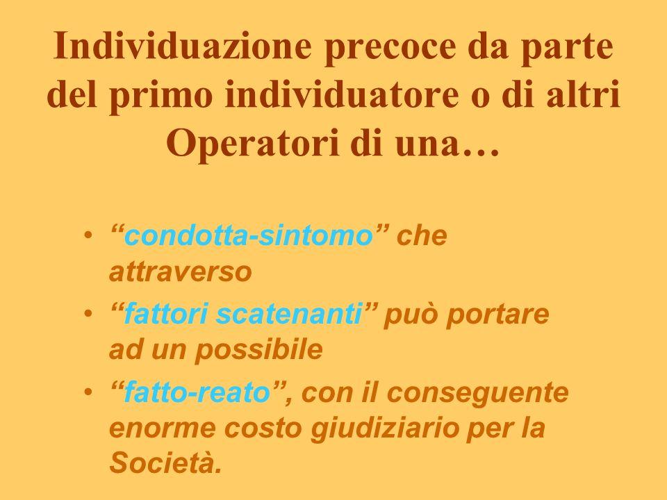 Obbiettivi degli Operatori nella Prevenzione Primaria - ottimizzare il rendimento delle strutture socio-assistenziali; - contenere i costi giudiziari;