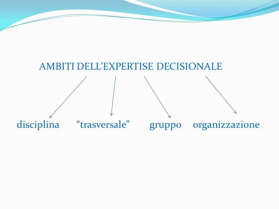 AMBITI DELLEXPERTISE DECISIONALE disciplina trasversale gruppo organizzazione