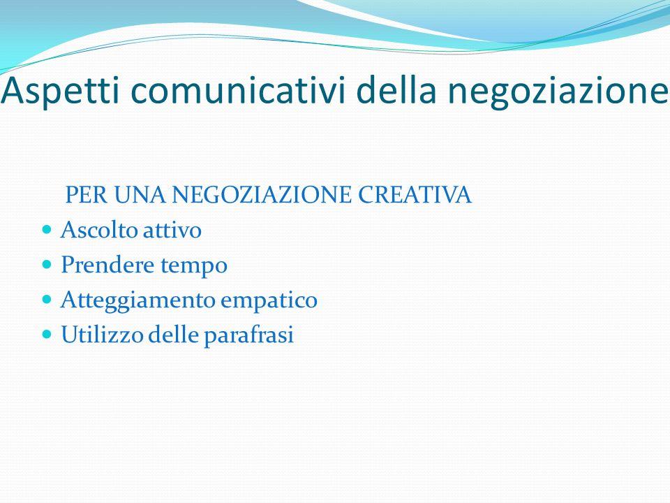 Aspetti comunicativi della negoziazione PER UNA NEGOZIAZIONE CREATIVA Ascolto attivo Prendere tempo Atteggiamento empatico Utilizzo delle parafrasi