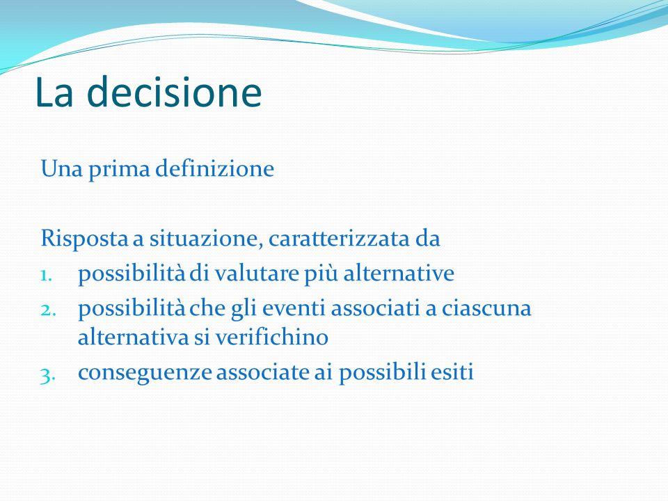La decisione Una prima definizione Risposta a situazione, caratterizzata da 1.