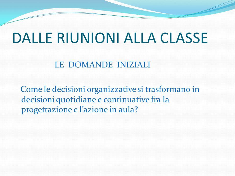 DALLE RIUNIONI ALLA CLASSE LE DOMANDE INIZIALI Come le decisioni organizzative si trasformano in decisioni quotidiane e continuative fra la progettazione e lazione in aula
