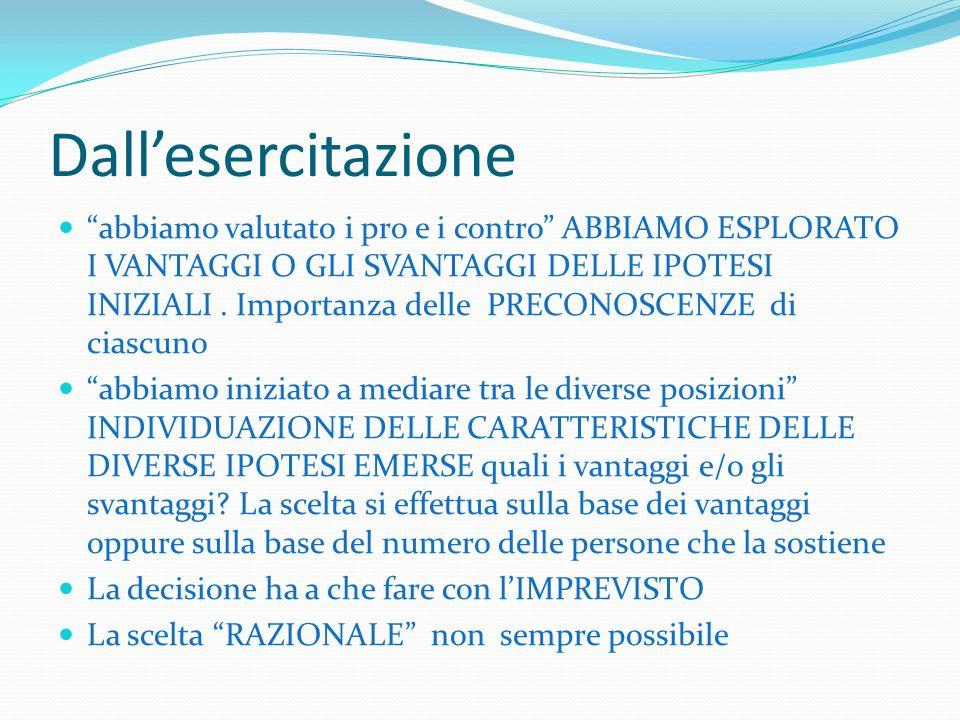 Le decisioni didattiche in aula La riflessione sulla decisione didattica La decisione valutativa (sullattività valutativa)