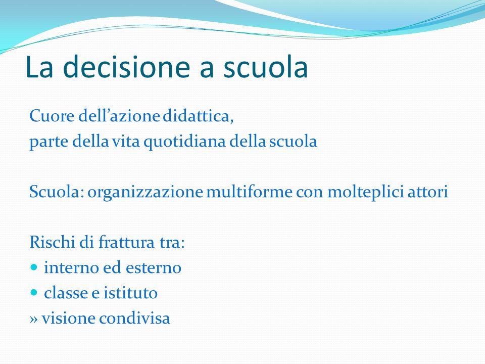 Le decisioni scolastiche Organizzative (dirigente in GR) Di collegamento Didattiche (insegnante in rapporto a colleghi, studenti e genitori, in PR)