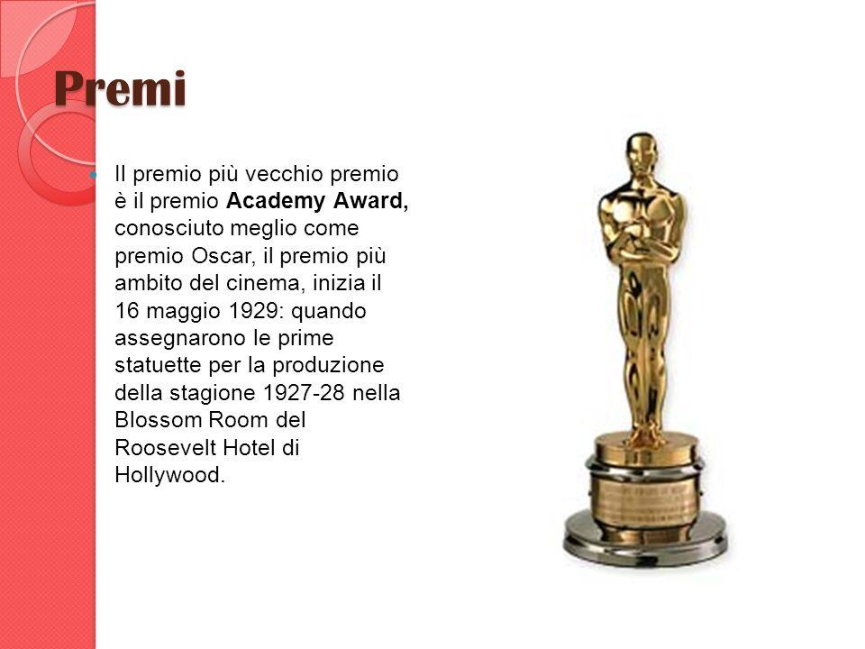 Premi Il premio più vecchio premio è il premio Academy Award, conosciuto meglio come premio Oscar, il premio più ambito del cinema, inizia il 16 maggi