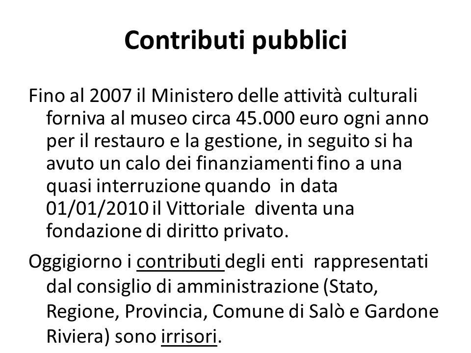 Contributi pubblici Fino al 2007 il Ministero delle attività culturali forniva al museo circa 45.000 euro ogni anno per il restauro e la gestione, in seguito si ha avuto un calo dei finanziamenti fino a una quasi interruzione quando in data 01/01/2010 il Vittoriale diventa una fondazione di diritto privato.