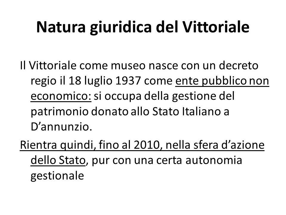 Natura giuridica del Vittoriale Il Vittoriale come museo nasce con un decreto regio il 18 luglio 1937 come ente pubblico non economico: si occupa della gestione del patrimonio donato allo Stato Italiano a Dannunzio.