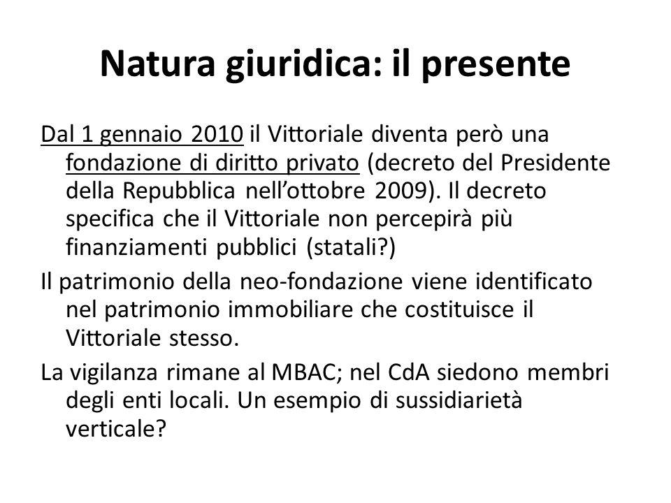 Natura giuridica: il presente Dal 1 gennaio 2010 il Vittoriale diventa però una fondazione di diritto privato (decreto del Presidente della Repubblica nellottobre 2009).