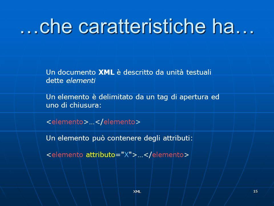 XML 15 …che caratteristiche ha… Un documento XML è descritto da unità testuali dette elementi Un elemento è delimitato da un tag di apertura ed uno di
