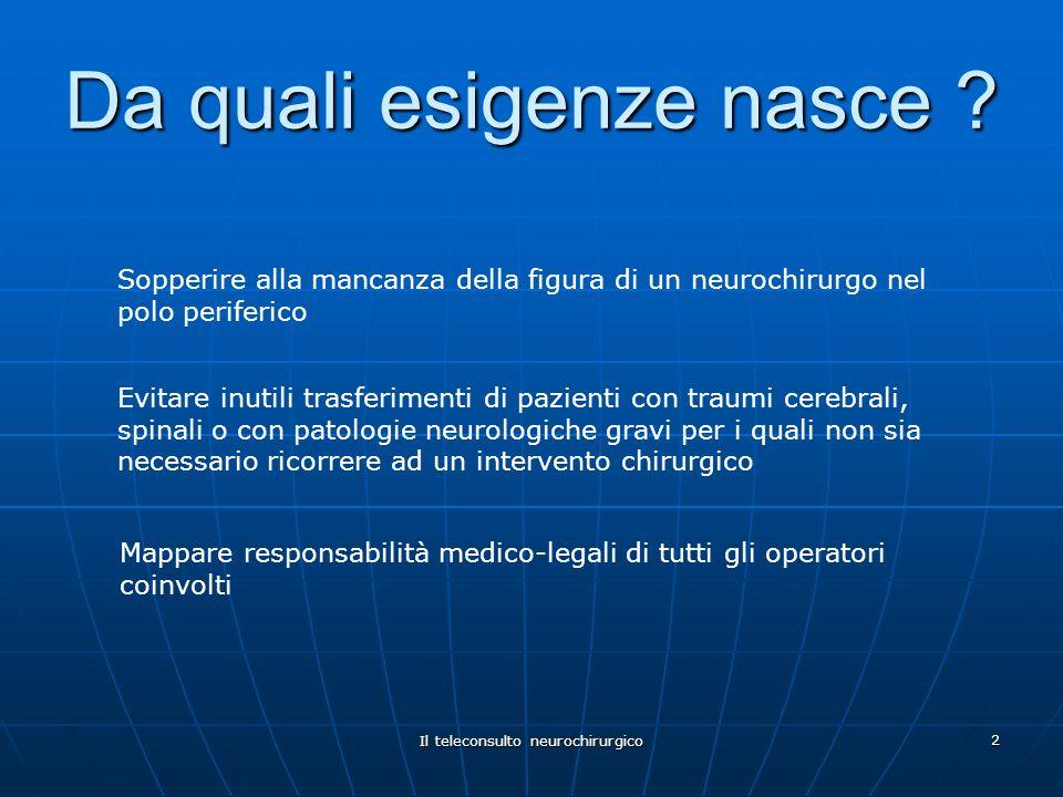 Il teleconsulto neurochirurgico 2 Da quali esigenze nasce ? Evitare inutili trasferimenti di pazienti con traumi cerebrali, spinali o con patologie ne