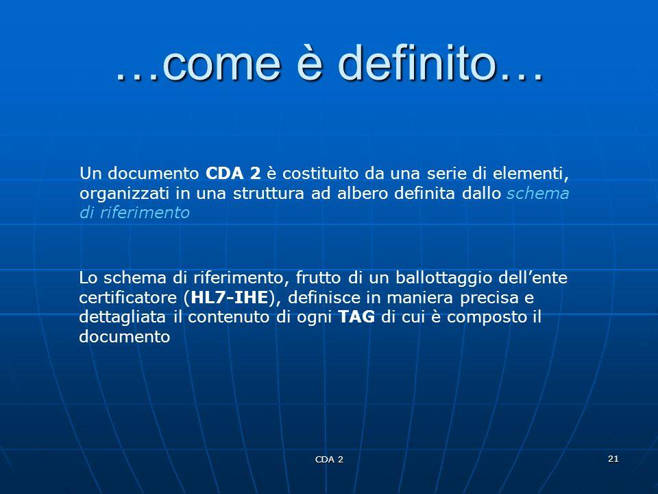 CDA 2 21 …come è definito… Un documento CDA 2 è costituito da una serie di elementi, organizzati in una struttura ad albero definita dallo schema di r