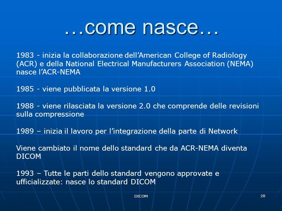 DICOM 28 …come nasce… 1983 - inizia la collaborazione dellAmerican College of Radiology (ACR) e della National Electrical Manufacturers Association (N