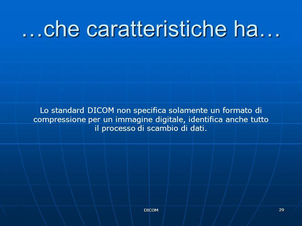 DICOM 29 …che caratteristiche ha… Lo standard DICOM non specifica solamente un formato di compressione per un immagine digitale, identifica anche tutt