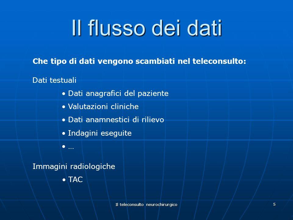 Il teleconsulto neurochirurgico 5 Il flusso dei dati Immagini radiologiche TAC Dati testuali Dati anagrafici del paziente Valutazioni cliniche Dati an