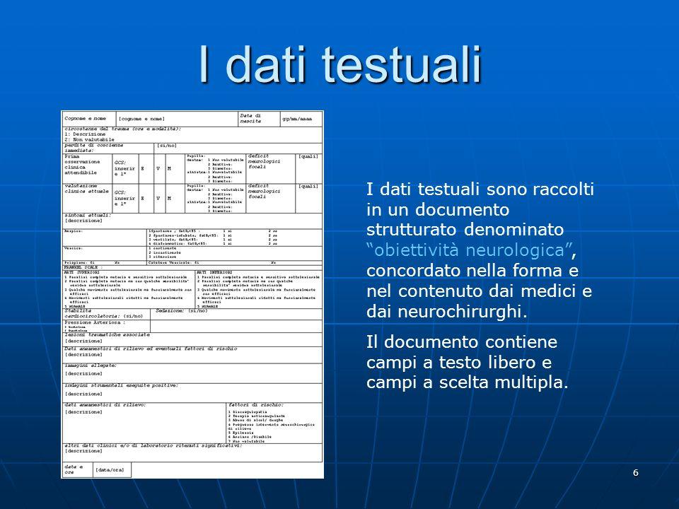 6 I dati testuali I dati testuali sono raccolti in un documento strutturato denominato obiettività neurologica, concordato nella forma e nel contenuto