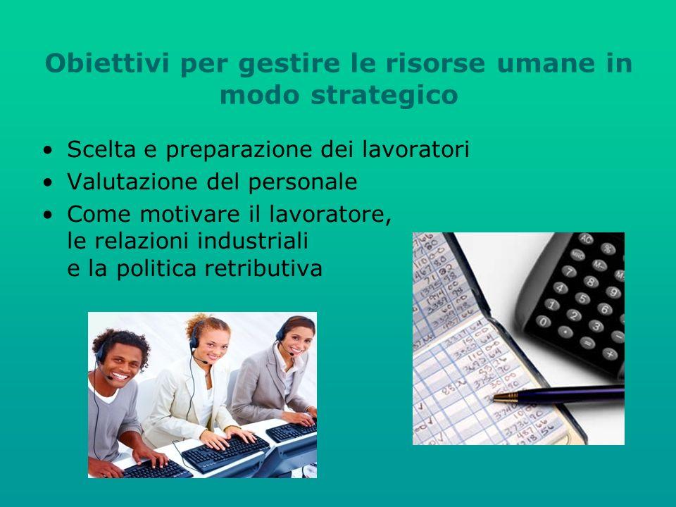 Obiettivi per gestire le risorse umane in modo strategico Scelta e preparazione dei lavoratori Valutazione del personale Come motivare il lavoratore, le relazioni industriali e la politica retributiva