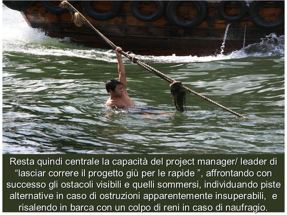 Resta quindi centrale la capacità del project manager/ leader di lasciar correre il progetto giù per le rapide, affrontando con successo gli ostacoli