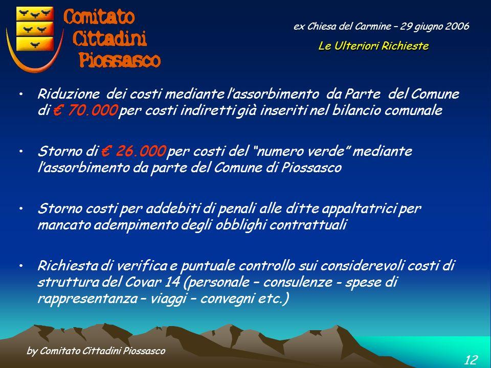 by Comitato Cittadini Piossasco 11 ex Chiesa del Carmine – 29 giugno 2006 ….. dopo ulteriori analisi sui bilanci del Covar 14, e dopo esserci confront