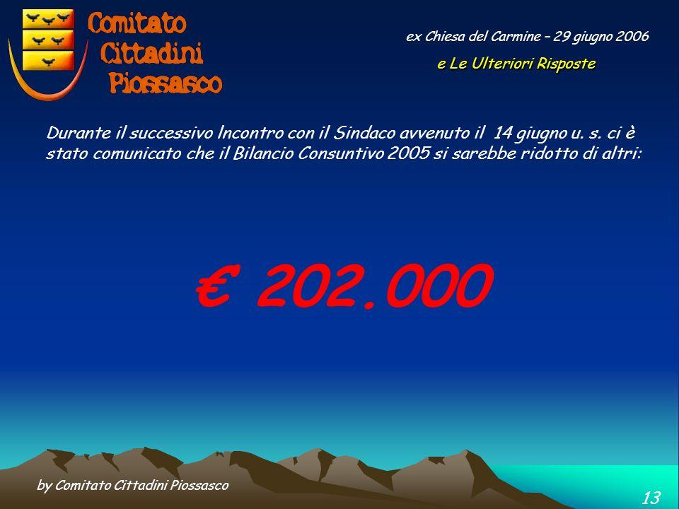 by Comitato Cittadini Piossasco 12 ex Chiesa del Carmine – 29 giugno 2006 Riduzione dei costi mediante lassorbimento da Parte del Comune di 70.000 per