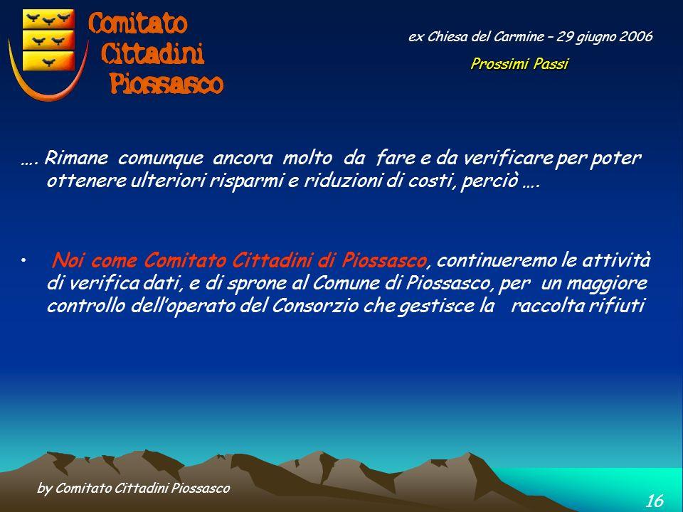 by Comitato Cittadini Piossasco 15 ex Chiesa del Carmine – 30 Marzo 2006 … comunque, con le insistenze e la partecipazione di tutti, il Costo della Ra