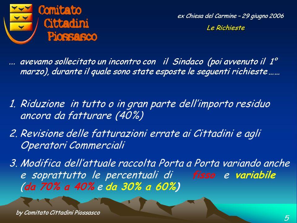 by Comitato Cittadini Piossasco 4 ex Chiesa del Carmine – 29 giugno 2006 …. riepilogando quindi il preventivo 2005 era cosi composto 2004 – Costo cons