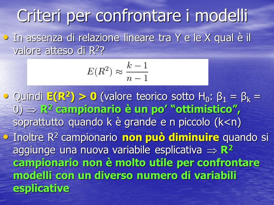 Correzione a R 2: R 2 adjusted R 2 adjusted = 1 in presenza di dipendenza lineare perfetta (R 2 = 1 e DEV(E) = 0) R 2 adjusted = 1 in presenza di dipendenza lineare perfetta (R 2 = 1 e DEV(E) = 0) R 2 adjusted è però meno interpretabile di R 2 : ad esempio, se R 2 = 0 risulta R 2 adjusted è però meno interpretabile di R 2 : ad esempio, se R 2 = 0 risulta Per confrontare ladattamento di modelli con variabili esplicative diverse si può calcolare la versione modificata: