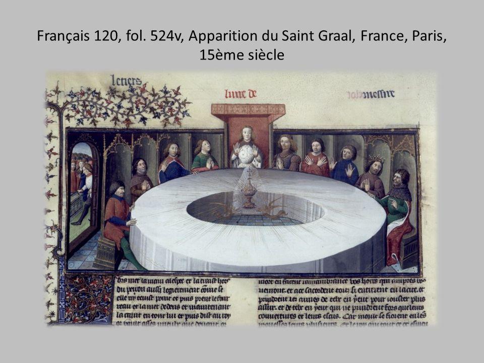Français 120, fol. 524v, Apparition du Saint Graal, France, Paris, 15ème siècle