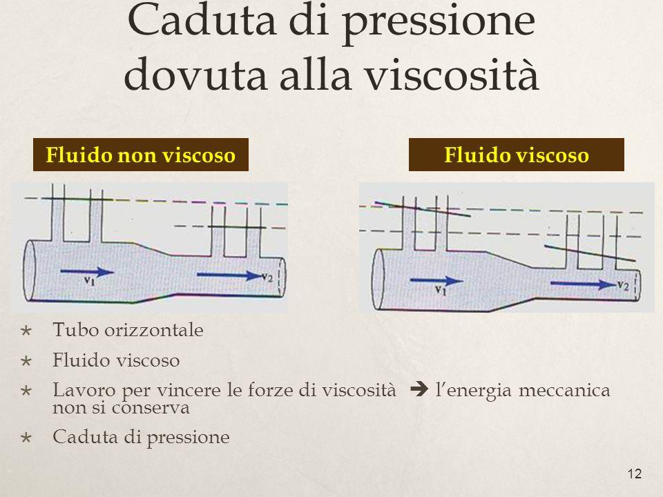12 Caduta di pressione dovuta alla viscosità Tubo orizzontale Fluido viscoso Lavoro per vincere le forze di viscosità lenergia meccanica non si conserva Caduta di pressione Fluido non viscosoFluido viscoso