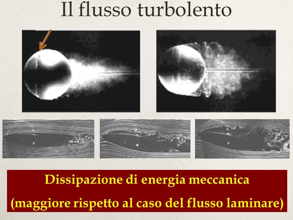 18 Il flusso turbolento Dissipazione di energia meccanica (maggiore rispetto al caso del flusso laminare)