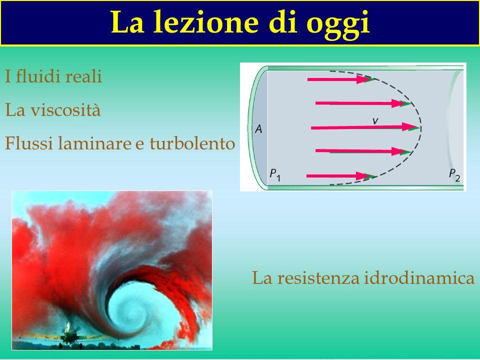 2 I fluidi reali La viscosità Flussi laminare e turbolento La resistenza idrodinamica La lezione di oggi