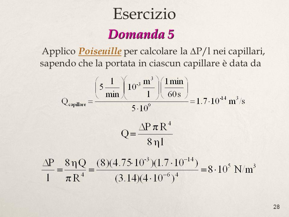 28 Domanda 5 Domanda 5 Applico Poiseuille per calcolare la P/l nei capillari, sapendo che la portata in ciascun capillare è data da Esercizio