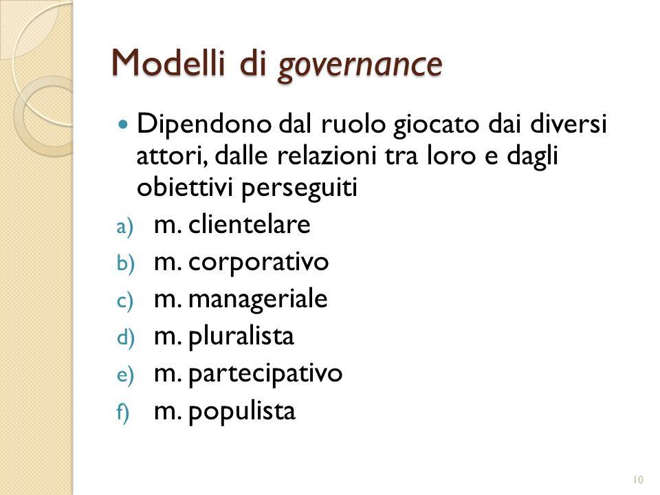 Modelli di governance Dipendono dal ruolo giocato dai diversi attori, dalle relazioni tra loro e dagli obiettivi perseguiti a) m. clientelare b) m. co