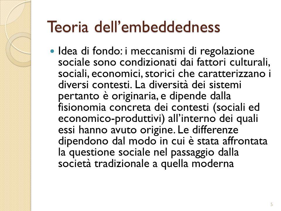 Teoria dellembeddedness Idea di fondo: i meccanismi di regolazione sociale sono condizionati dai fattori culturali, sociali, economici, storici che ca