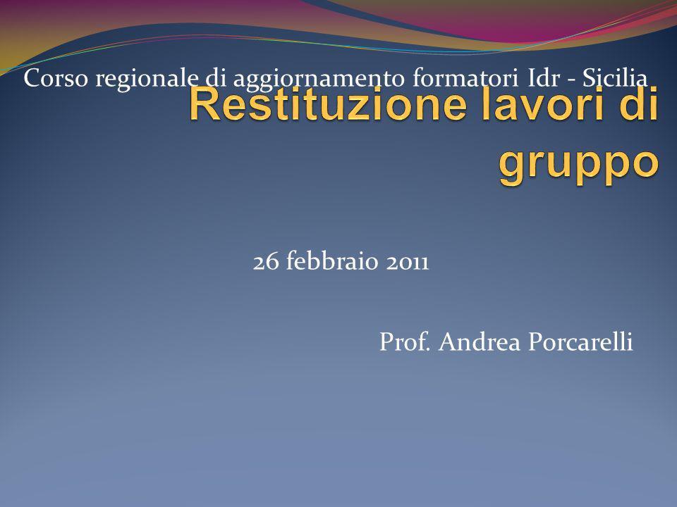 Prof. Andrea Porcarelli Corso regionale di aggiornamento formatori Idr - Sicilia 26 febbraio 2011