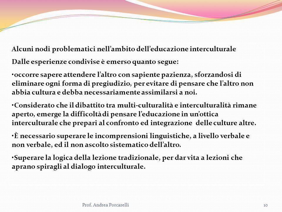 Prof. Andrea Porcarelli10 Alcuni nodi problematici nellambito delleducazione interculturale Dalle esperienze condivise è emerso quanto segue: occorre