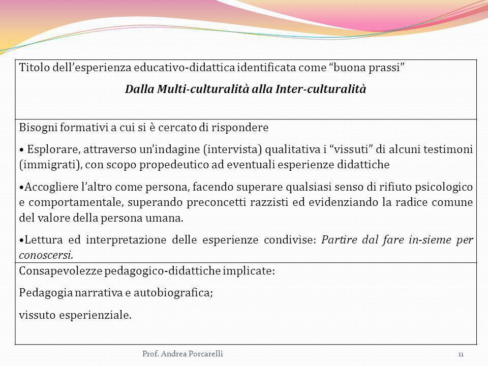 Prof. Andrea Porcarelli11 Titolo dellesperienza educativo-didattica identificata come buona prassi Dalla Multi-culturalità alla Inter-culturalità Biso