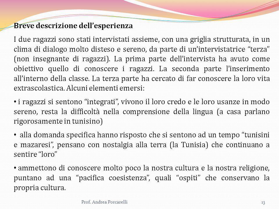 Prof. Andrea Porcarelli13 Breve descrizione dellesperienza I due ragazzi sono stati intervistati assieme, con una griglia strutturata, in un clima di