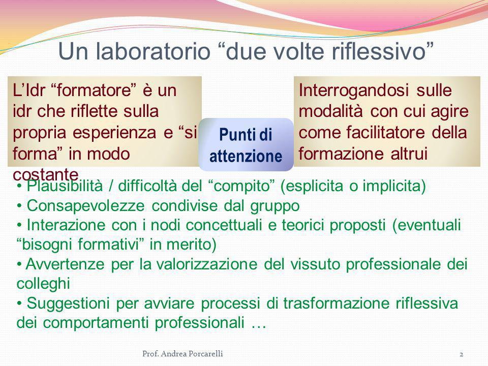 Un laboratorio due volte riflessivo 2Prof. Andrea Porcarelli LIdr formatore è un idr che riflette sulla propria esperienza e si forma in modo costante