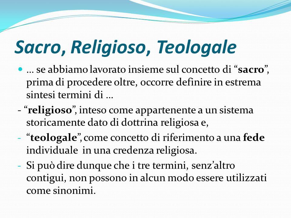 Sacro, Religioso, Teologale … se abbiamo lavorato insieme sul concetto di sacro, prima di procedere oltre, occorre definire in estrema sintesi termini