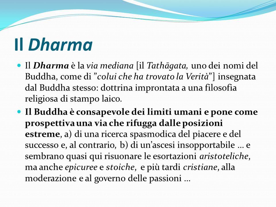 Il Dharma Il Dharma è la via mediana [il Tathāgata, uno dei nomi del Buddha, come di colui che ha trovato la Verità] insegnata dal Buddha stesso: dott