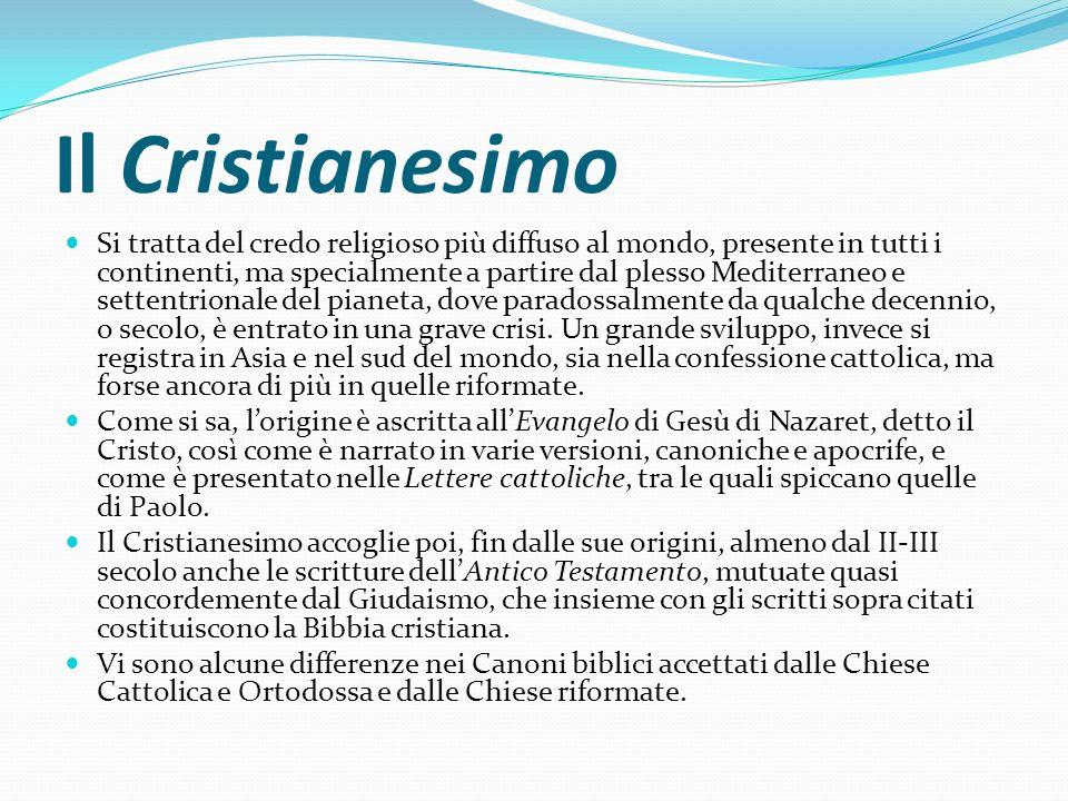 Il Cristianesimo Si tratta del credo religioso più diffuso al mondo, presente in tutti i continenti, ma specialmente a partire dal plesso Mediterraneo