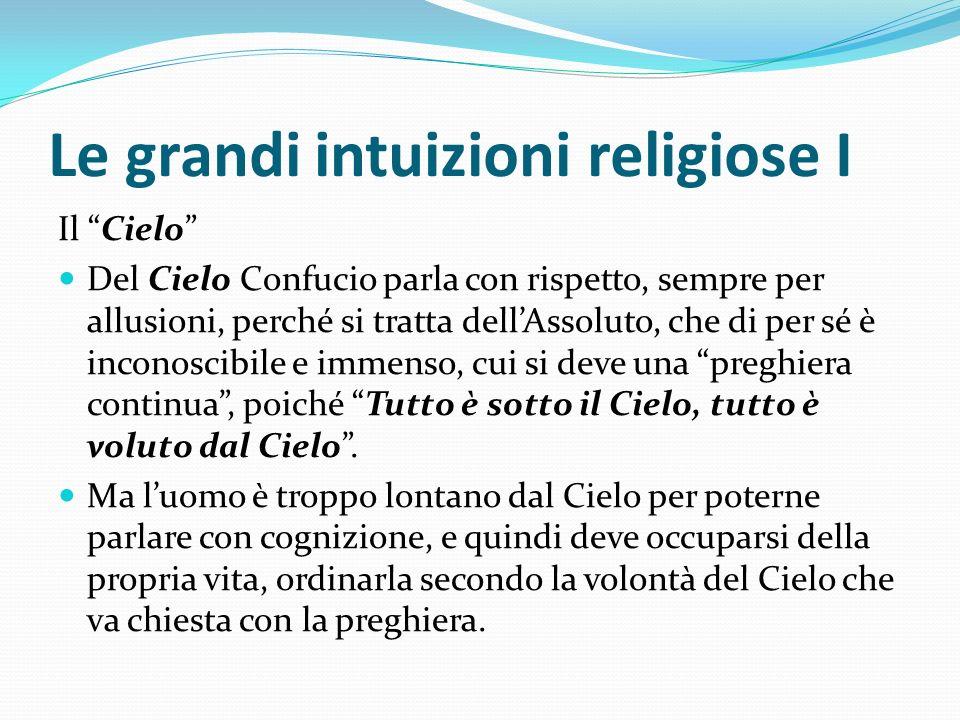 Le grandi intuizioni religiose I Il Cielo Del Cielo Confucio parla con rispetto, sempre per allusioni, perché si tratta dellAssoluto, che di per sé è